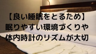【良い睡眠をとるため】眠りやすい環境づくりや体内時計のリズムが大切